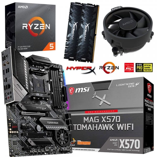 PC Bundle Kit • AMD Ryzen 5 3600 • MSI MAG X570 Tomahawk WIFI • 16GB HyperX DDR4-3200