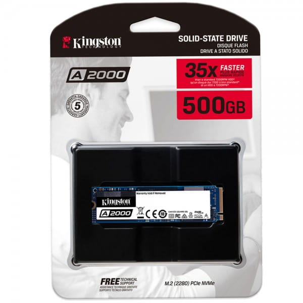 Kingston A2000 SSD 500GB M.2 2280 NVMe PCIe 3.0 x4 - internes Solid-State-Modul