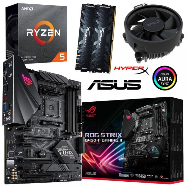 PC Bundle Kit • AMD Ryzen 5 3600 Box + ASUS ROG Strix B450-F Gaming II + 16GB HyperX DDR4-3200