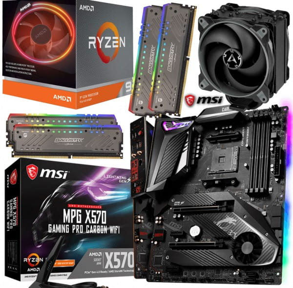 PC Bundle Kit • AMD Ryzen 9 3900X • MSI X570 Gaming Pro Carbon WIFI • 64GB DDR4-3000 Crucial RGB