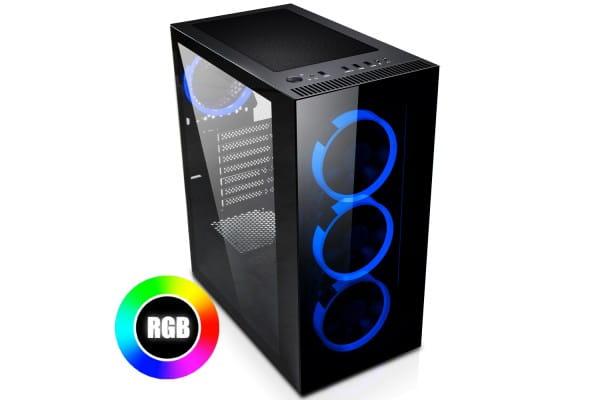 EVOLVEO Ptero Q12 RGB Midi Tower Gehäuse schwarz mit Glasfenster