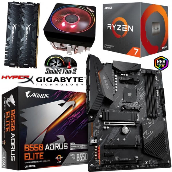 PC Bundle - AMD Ryzen 7 3700X + Gigabyte GA-B550 AORUS ELITE + 16GB DDR4-3200