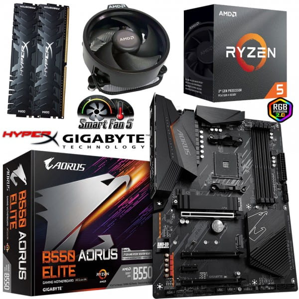 PC Bundle - AMD Ryzen 5 3600 + Gigabyte GA-B550 AORUS ELITE + 16GB DDR4-3200