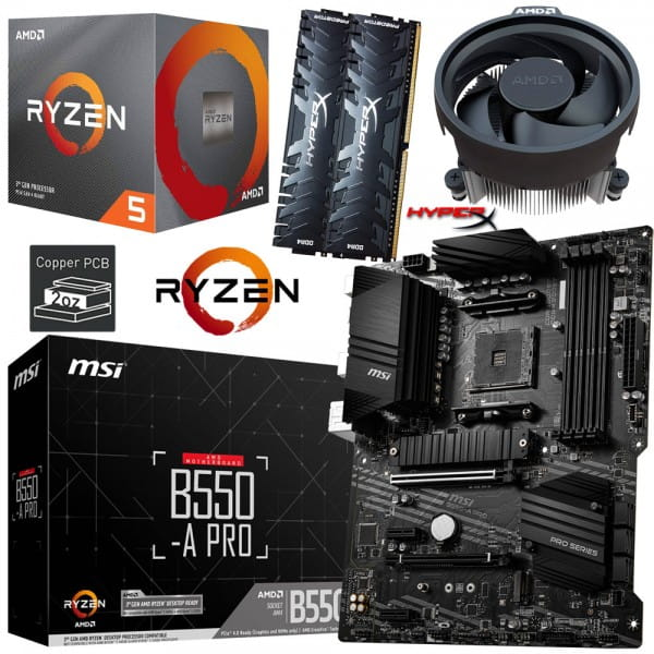 PC Bundle Kit • AMD Ryzen 5 3600XT • MSI B550-A PRO • 16GB HyperX DDR4-3200