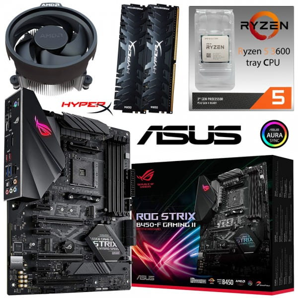 PC Bundle Kit • AMD Ryzen 5 3600 Tray + ASUS ROG Strix B450-F Gaming II + 16GB HyperX DDR4-3200
