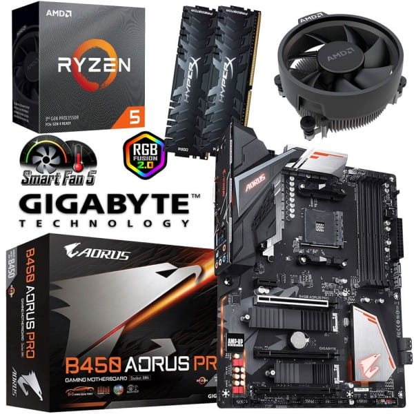 PC Bundle Kit - AMD Ryzen 5 3600 + Gigabyte GA-B450 AORUS PRO + 16GB DDR4-3200